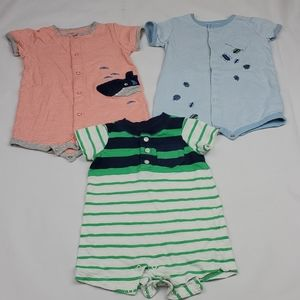Lot of 3 Carters baby boy one piece short outfits